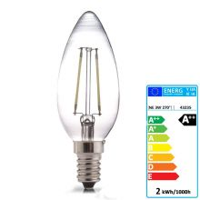 E14 LED FILAMENT CANDLE GLASS BULB 360° BEAM ANGLE